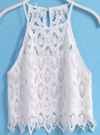 White Spaghetti Strap Hollow Lace Tank Top