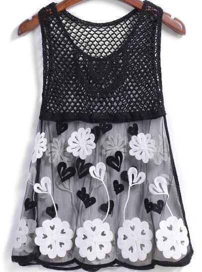 Black Hollow Sheer Mesh Embroidered Tank Top