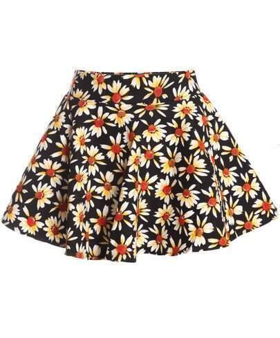 Black Daisy Print Flare Skirt