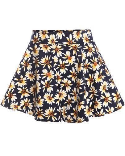 Navy Daisy Print Flare Skirt