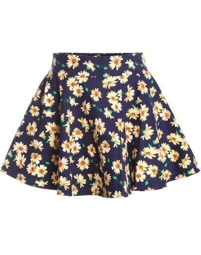Navy Daisy Print A Line Flare Skirt