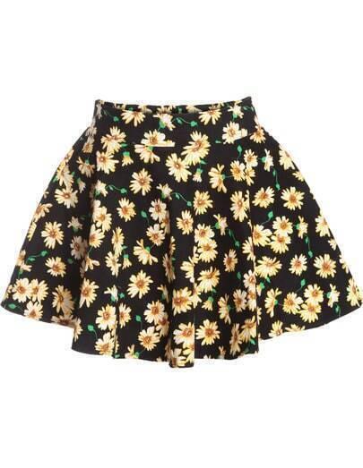 Black Daisy Print A Line Flare Skirt