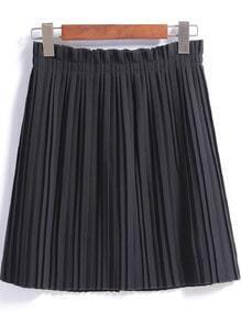 Black Slim Pleated Skirt