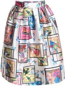 Multicolor Birds Print Midi Skirt