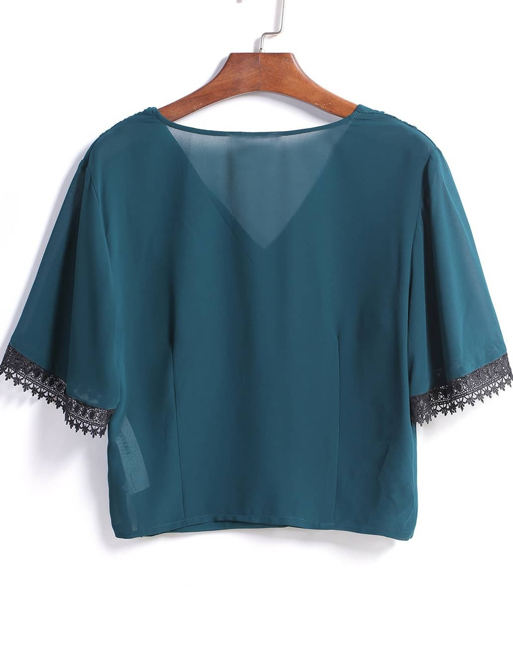 Green V Neck Lace Crop Blouse -SheIn(Sheinside)