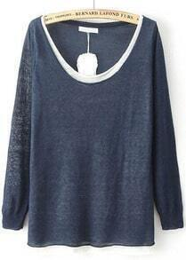Navy Contrast Collar Loose Knit Sweater