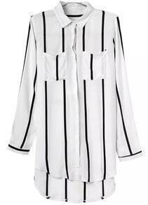 White Lapel Pockets Vertical Stripe Dip Hem Blouse