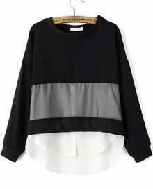 Colour-block Sheer Organza Loose Blouse