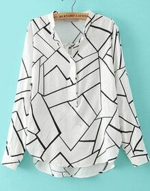 White Stand Collar Geometric Print Dip Hem Blouse