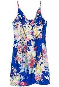 Blue Spaghetti Strap Floral Bodycon Dress