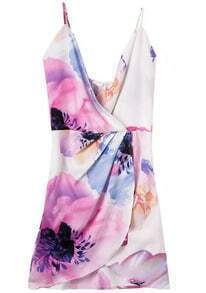 Multicolour Bleached Dyed Spaghetti Strap Floral Bodycon Dress