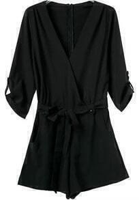 Black V Neck Half Sleeve Tie-Waist Jumpsuit