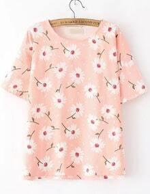 Pink Short Sleeve Daisy Print Loose T-Shirt