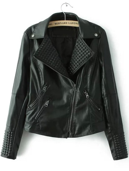 Black Lapel Oblique Zipper Crop Jacket