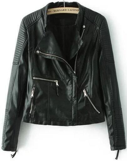 Black Lapel Zipper Crop PU Jacket