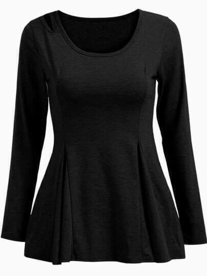 Black Long Sleeve Hollow Shirred Ruffle T-shirt