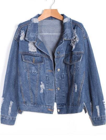 Blue Lapel Long Sleeve Ripped Denim Coat