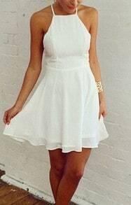 White Spaghetti Strap Backless Chiffon Dress