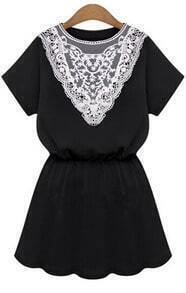 Black Short Sleeve Lace Insert Dress