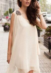 Apricot Sleeveless Irregular Hem Loose Dress
