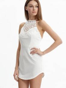 White Criss Cross Back Hollow Lace Dress