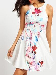 White Sleeveless Floral Superb Easter Custom Ruffle Slim Dress