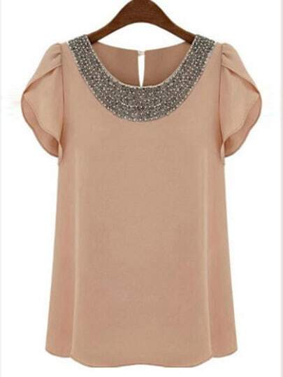 Pink Round Neck With Bead Chiffon Blouse pictures