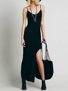 Black Spaghetti Strap Split Front Dress