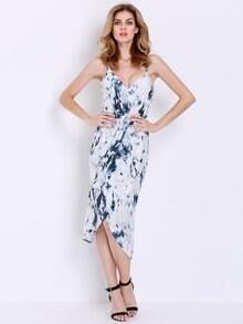 White Spaghetti Strap Ink Print Dress