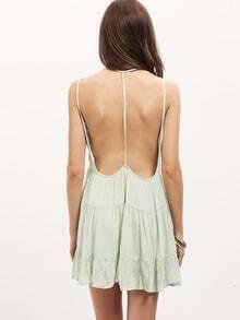 Green Spaghetti Strap Backless Dress