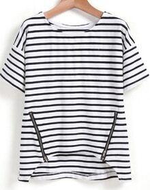 Black White Striped Zipper Dip Hem T-Shirt