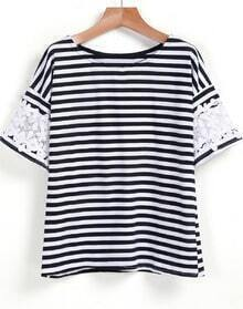 Black White Lace Short Sleeve Striped T-Shirt
