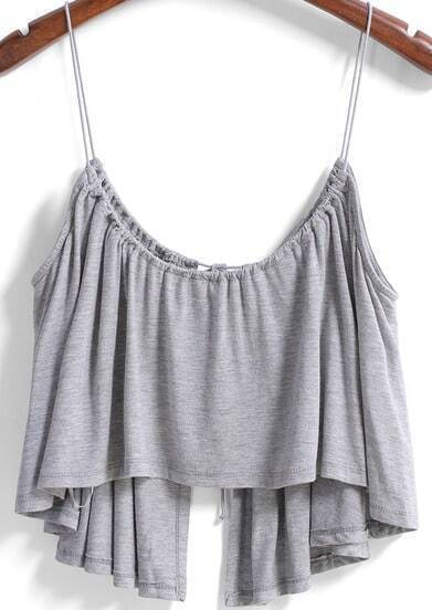 Grey Spaghetti Strap Split Cami Top