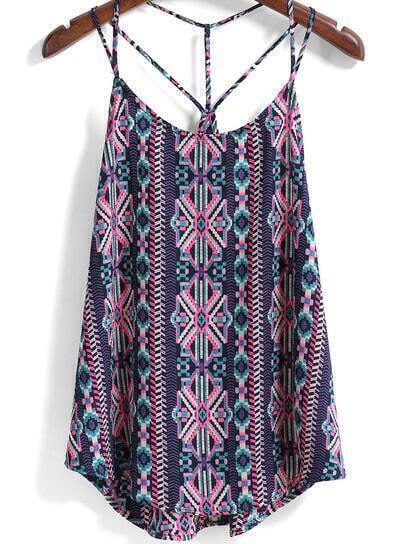Purple Spaghetti Strap Tribal Print Cami Top