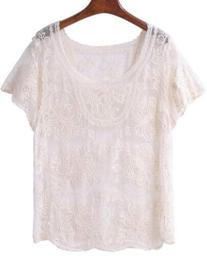 Apricot Short Sleeve Floral Crochet Lace Blouse