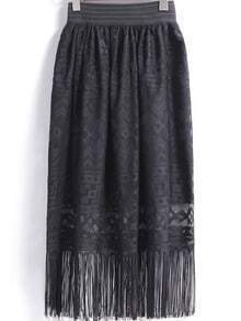 Black Lace Tassel Skirt