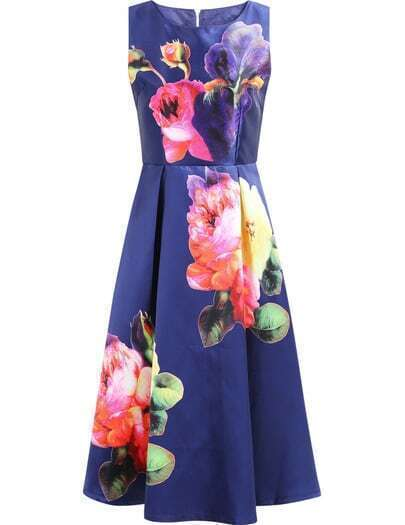 Royal Blue Sleeveless Floral Pleated Dress