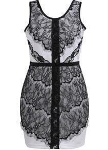 Black White Sleeveless Lace Bodycon Dress