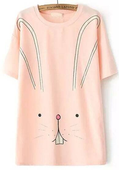 Pink Short Sleeve Rabbit Print T-Shirt