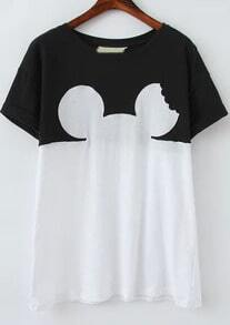 Color Block Short Sleeve Mickey Head Print T-Shirt