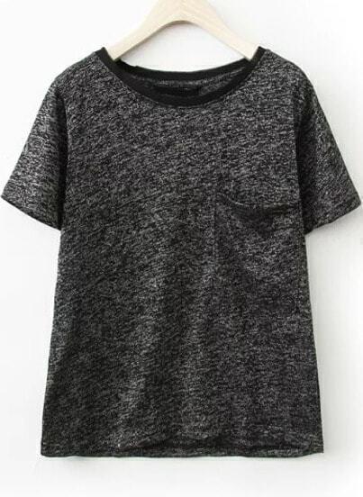 Black Short Sleeve Pockets Casual T-Shirt