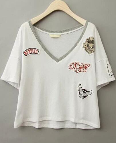 White V Neck Badge Patch T-Shirt