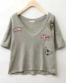 Grey V Neck Badge Patch T-Shirt
