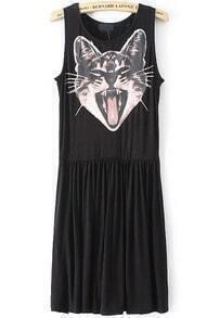 Black Sleeveless Cat Print Pleated Dress