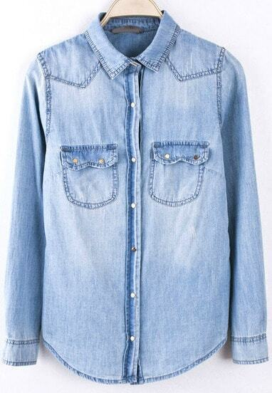 Blue Bleached With Pockets Denim Blouse