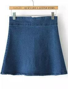 Blue With Zipper Denim A-Line Skirt