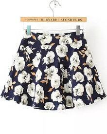 Navy Flower Print With Zipper Skirt