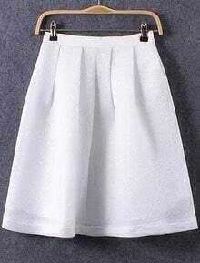 White With Zipper A-Line Skirt