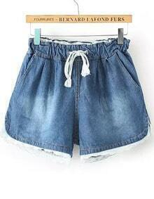 Blue Drawstring Bleached Contrast Lace Denim Shorts