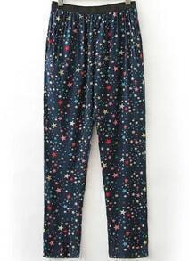 Navy Elastic Waist Star Print Pant